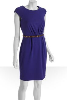 Calvin Klein Grape Stretch Knit Cap Sleeve Belted Dress - Lyst