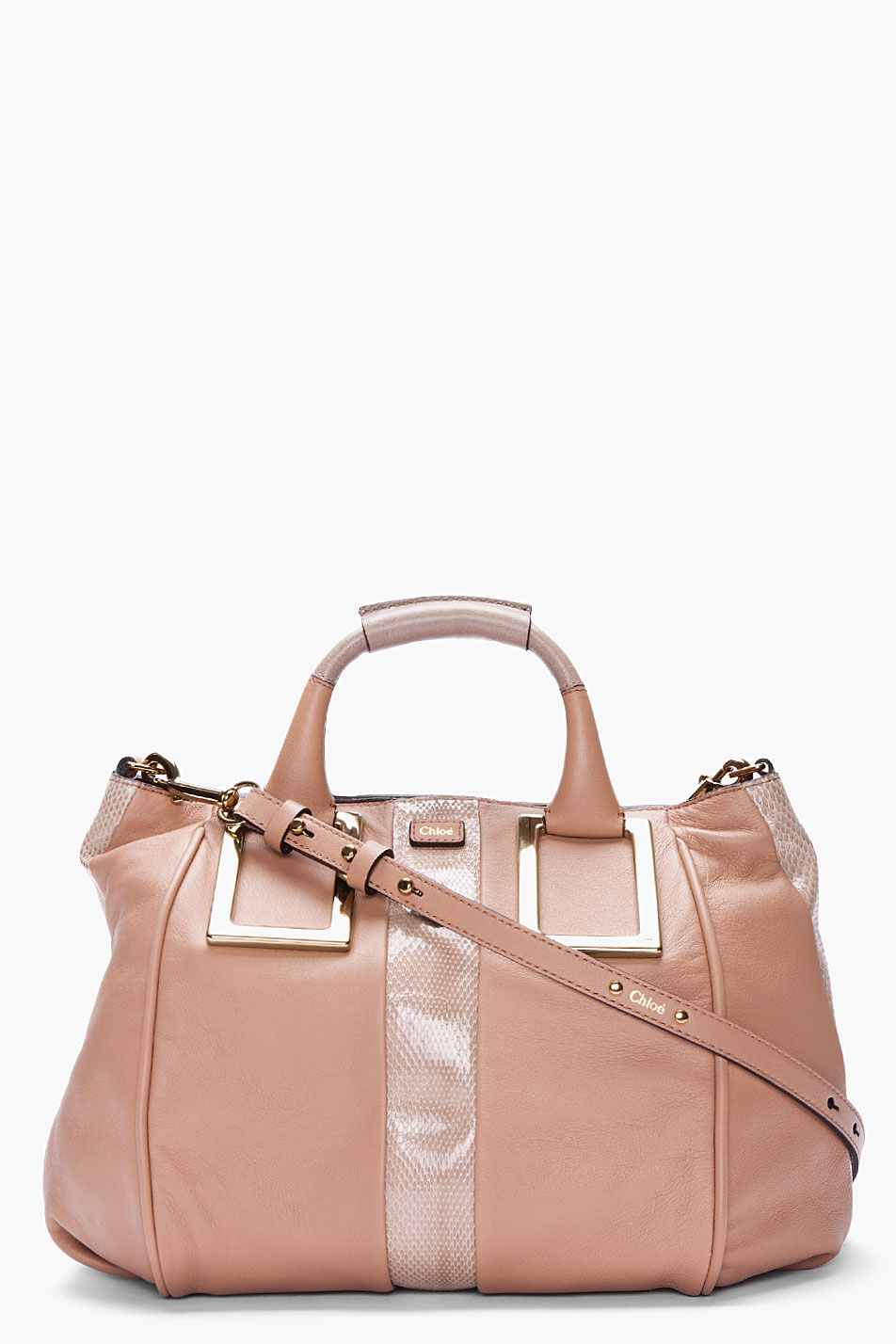 Chlo¨¦ Taupe Snakeskintrimmed Ethel Bag in Pink (taupe) | Lyst