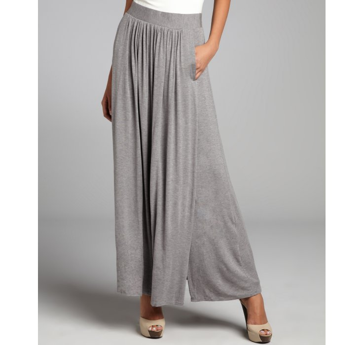 Elie tahari Pearl Grey Jersey Melinda Pleated Maxi Skirt in Gray ...