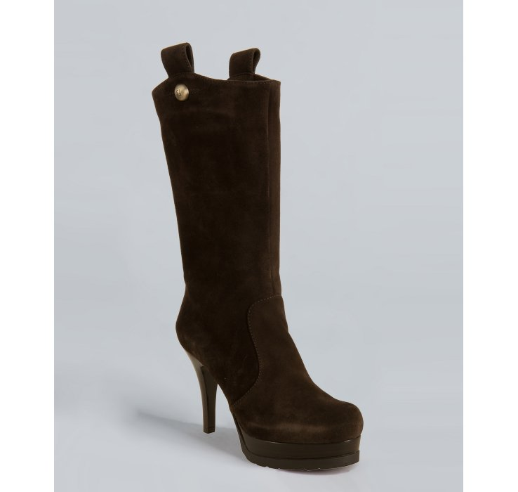 fendi brown suede slipon platform boots in brown