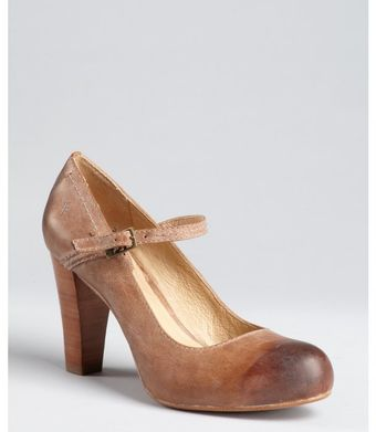 Frye Tan Leather Miranda Stacked Heel Mary Janes - Lyst