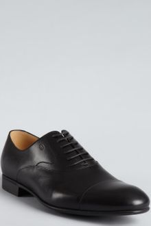 Gucci Black Leather Cap Toe Oxfords - Lyst