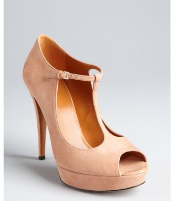 Gucci  Suede Betty T-Strap Platform Peep Toe Pumps - Lyst