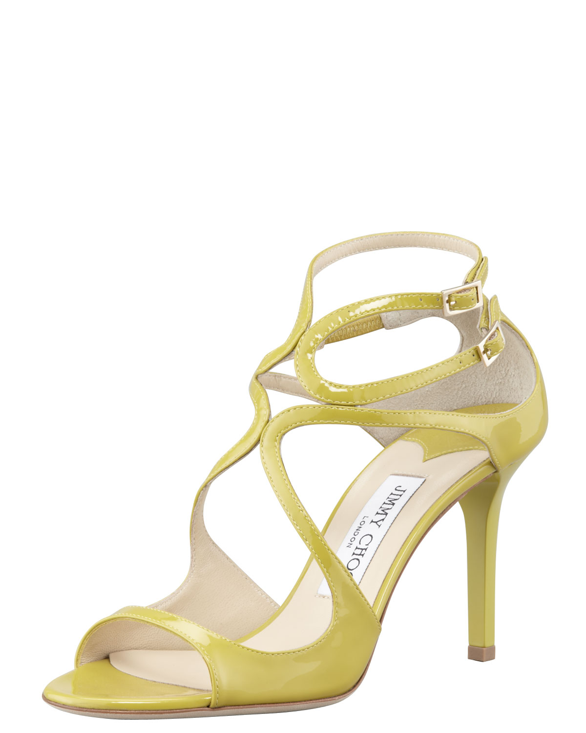 f8208107fe24 Lyst - Jimmy Choo Ivette Patent Strappy Sandal Citrine in Yellow