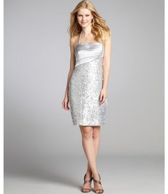 Kay Unger Silver Silk Sequin Mesh Halter Cocktail Dress - Lyst