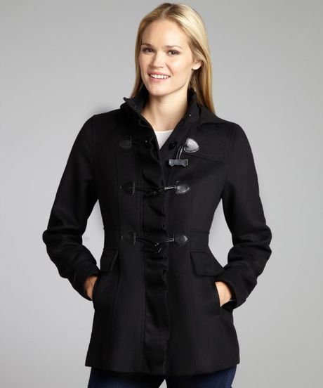 Kensie Black Bow Toggle Ruffle Front Hooded Coat in Black