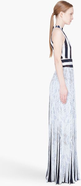 Kenzo White Pleated Marble Print Halter Dress In White Lyst