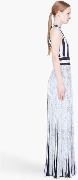 Kenzo White Pleated Marble Print Halter Dress In White Lyst