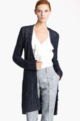 Oscar de la Renta Long Metallic Cable Cardigan - Lyst
