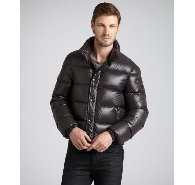 Prada Quilted Nylon Cropped Down Fill Coat in Black for Men | Lyst