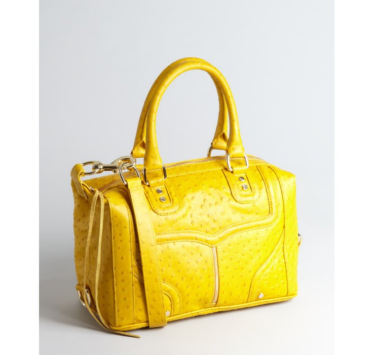 Yellow Ostrich Embossed Leather Covet Shoulder Bag 97