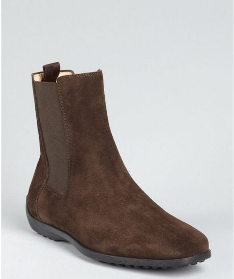 tod s brown suede slipon flat boots in brown