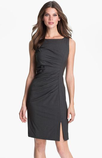 Calvin Klein Pleated Front Sheath Dress - Lyst