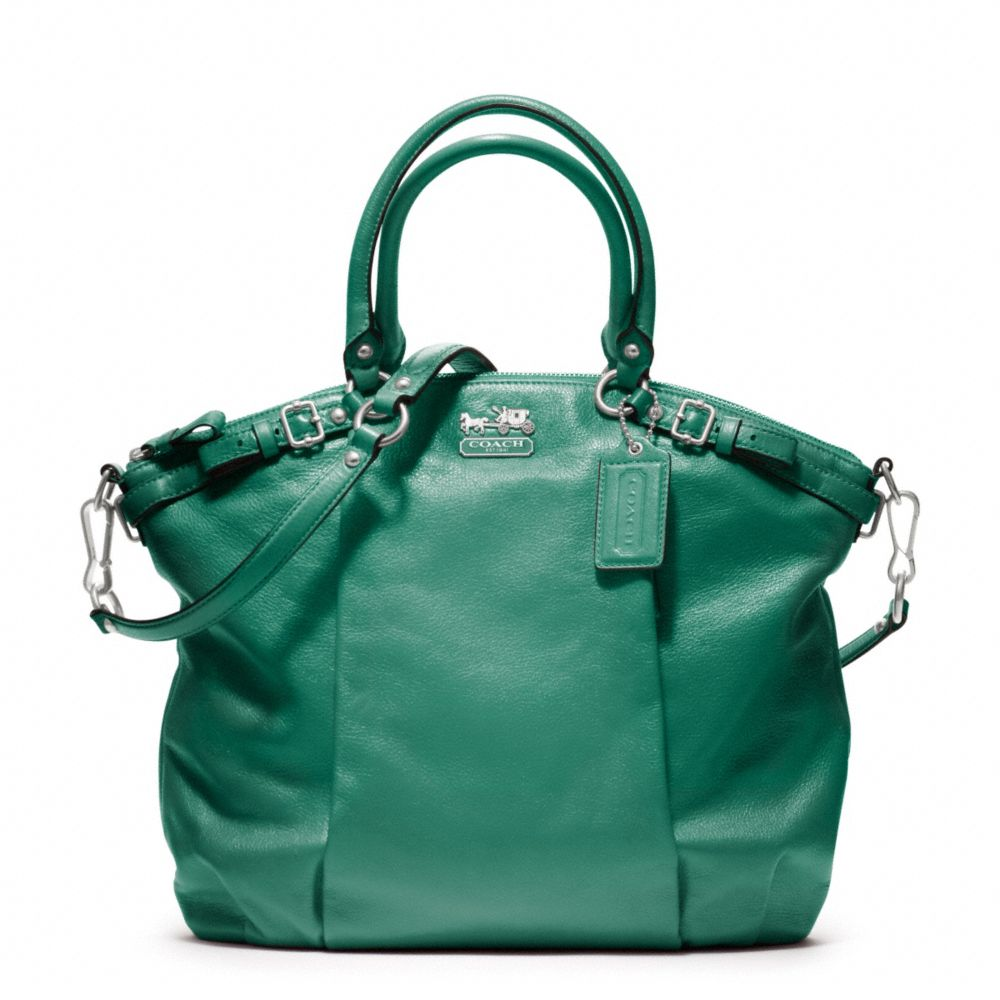 98dd2691f914 ... shop coach madison leather lindsey satchel in green lyst 2fc2b 18050