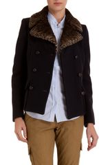 Golden Goose Deluxe Brand Fur Collar Pea Coat - Lyst