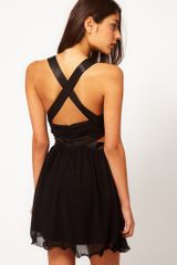 Little Mistress Embellished Cut Out Cross Back Dress - Lyst