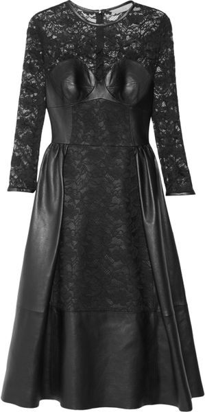 Mulberry Paneled Leather and Lace Dress in Black