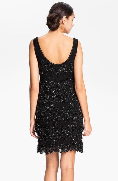 Patra Embellished Silk Chiffon Tiered Shift Dress In Black