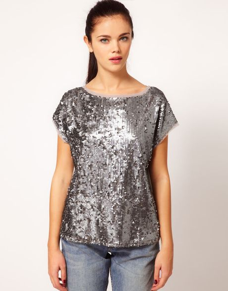 River Island Sequin Tshirt in Silver (gunmetal)