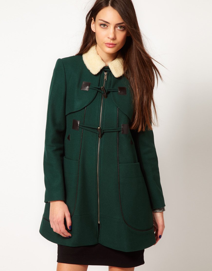 Whistles Camille Duffle Coat in Green | Lyst