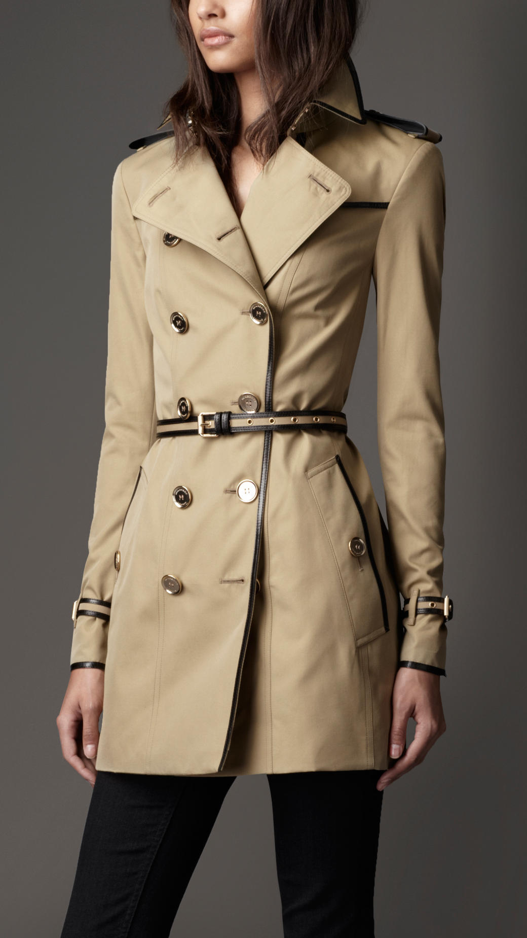 burberry midlength cotton gabardine leather detail trench. Black Bedroom Furniture Sets. Home Design Ideas
