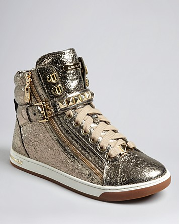 lyst michael kors michael high top lace up sneakers glam. Black Bedroom Furniture Sets. Home Design Ideas