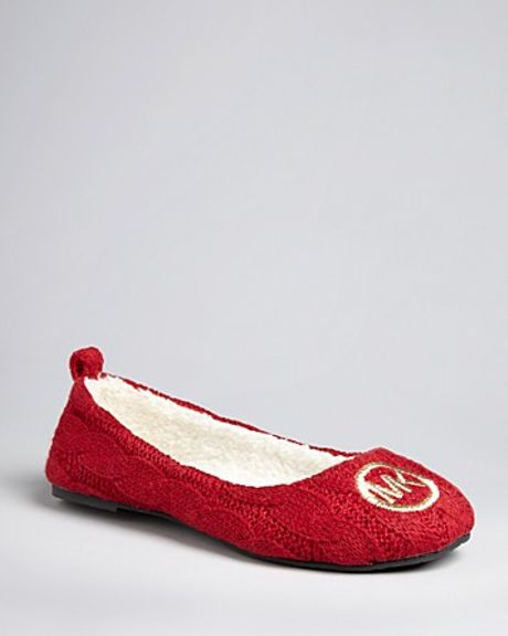Michael Kors Michael Cable Knit Slippers Jet Set Mk Logo Ballet in Red