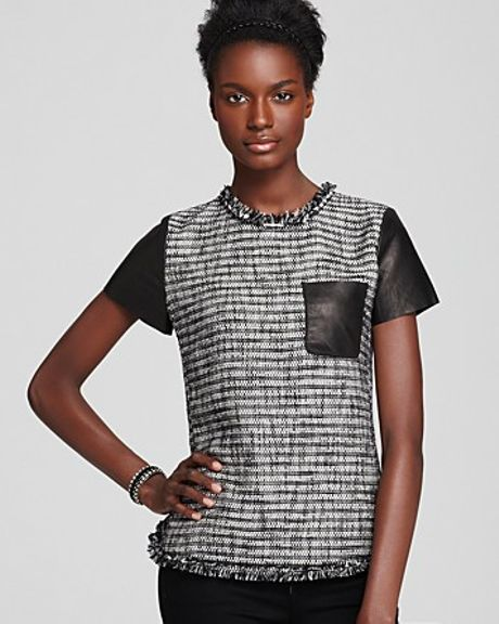 Rebecca Taylor Top Short Sleeve Tweed with Patch Pocket in Black