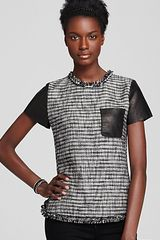 Rebecca Taylor Top Short Sleeve Tweed with Patch Pocket in Black - Lyst