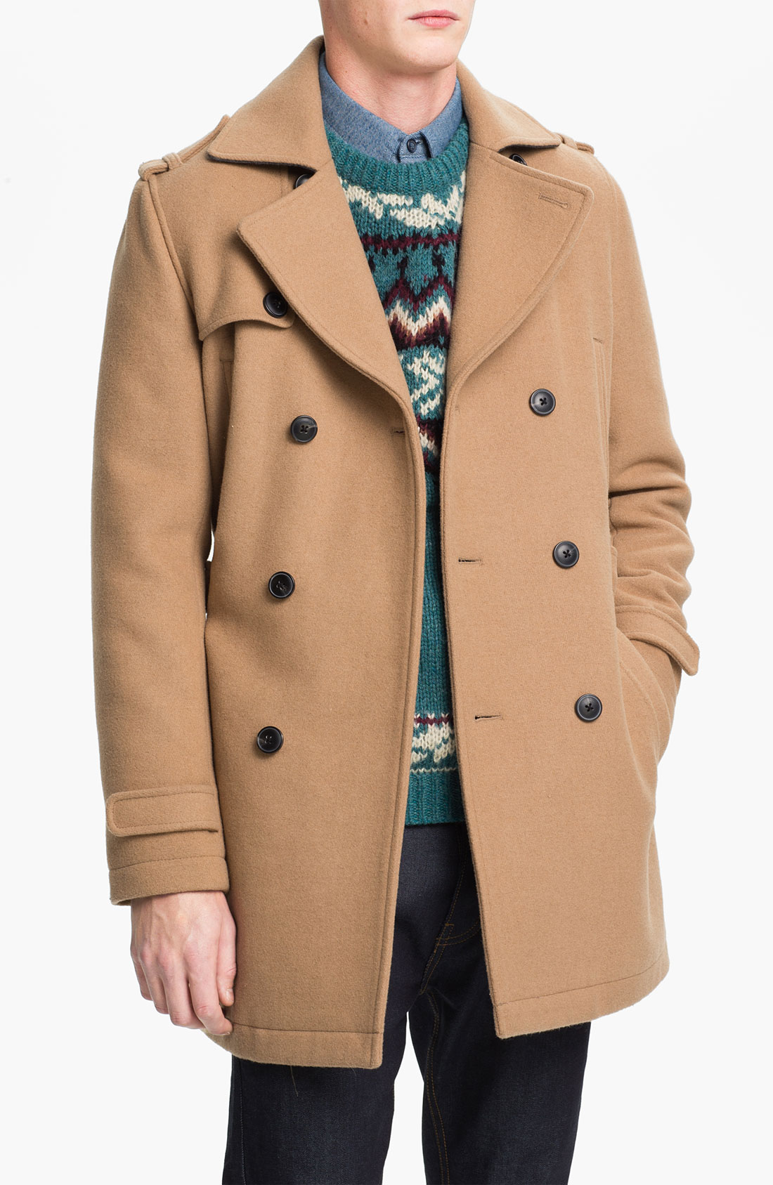 Topman Double Breasted Trench Coat in Natural for Men | Lyst