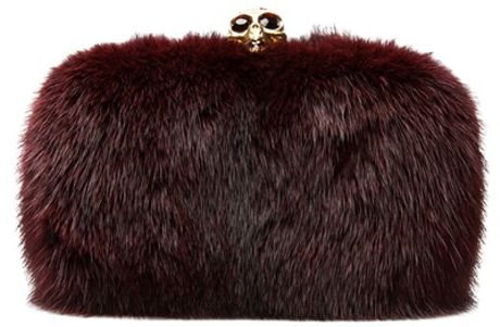 Alexander Mcqueen Classic Skull Box Clutch in Purple (oxblood)