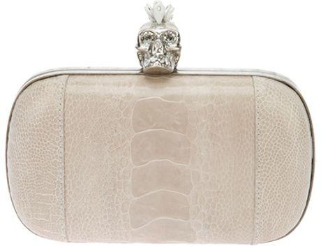 Alexander Mcqueen Mohican Skull Ostrich Box Clutch in White (pearl)
