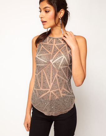 ASOS Collection Asos Vest with Diamond Embellished Dipped Back - Lyst