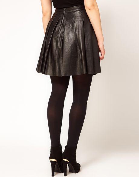 asos curve skater skirt in leather in black lyst