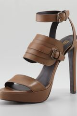 Belstaff Anklewrap Leather Sandal Tan - Lyst