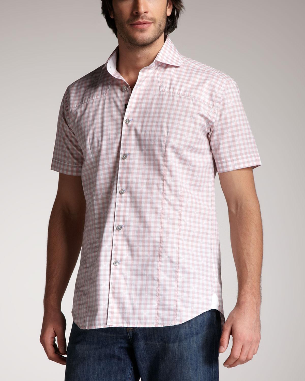 Bogosse Check Shortsleeve Shirt In Pink For Men Pink