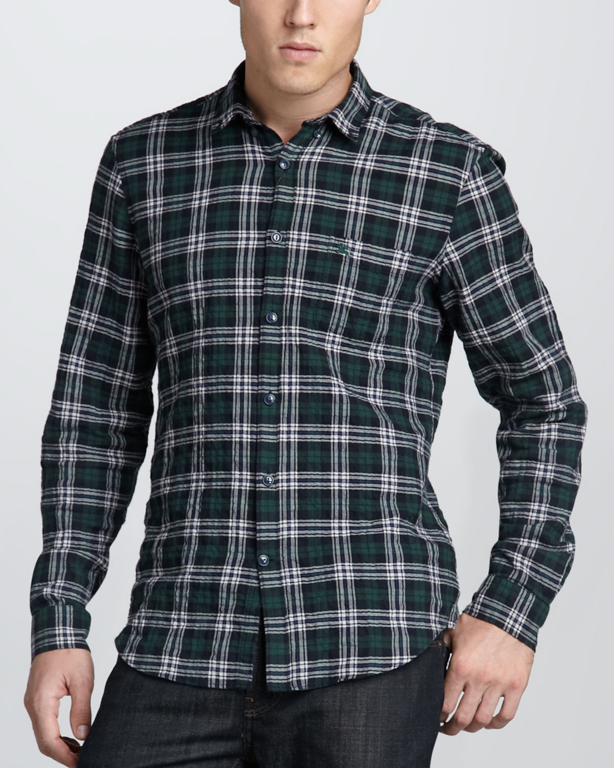 Burberry brit crinkle cotton check shirt in blue for men for Burberry brit plaid shirt