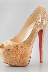 Christian Louboutin Highness Cork Peeptoe Platform Red Sole Pump - Lyst