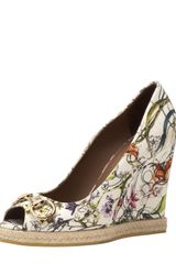 Gucci Floral Canvas Wedge Pump - Lyst