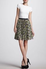 Jason Wu Womens Pleated Floralprint Skirt Navylilac - Lyst