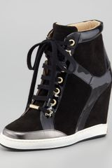 Jimmy Choo Panama Suedepatent Leather Wedge Sneaker - Lyst