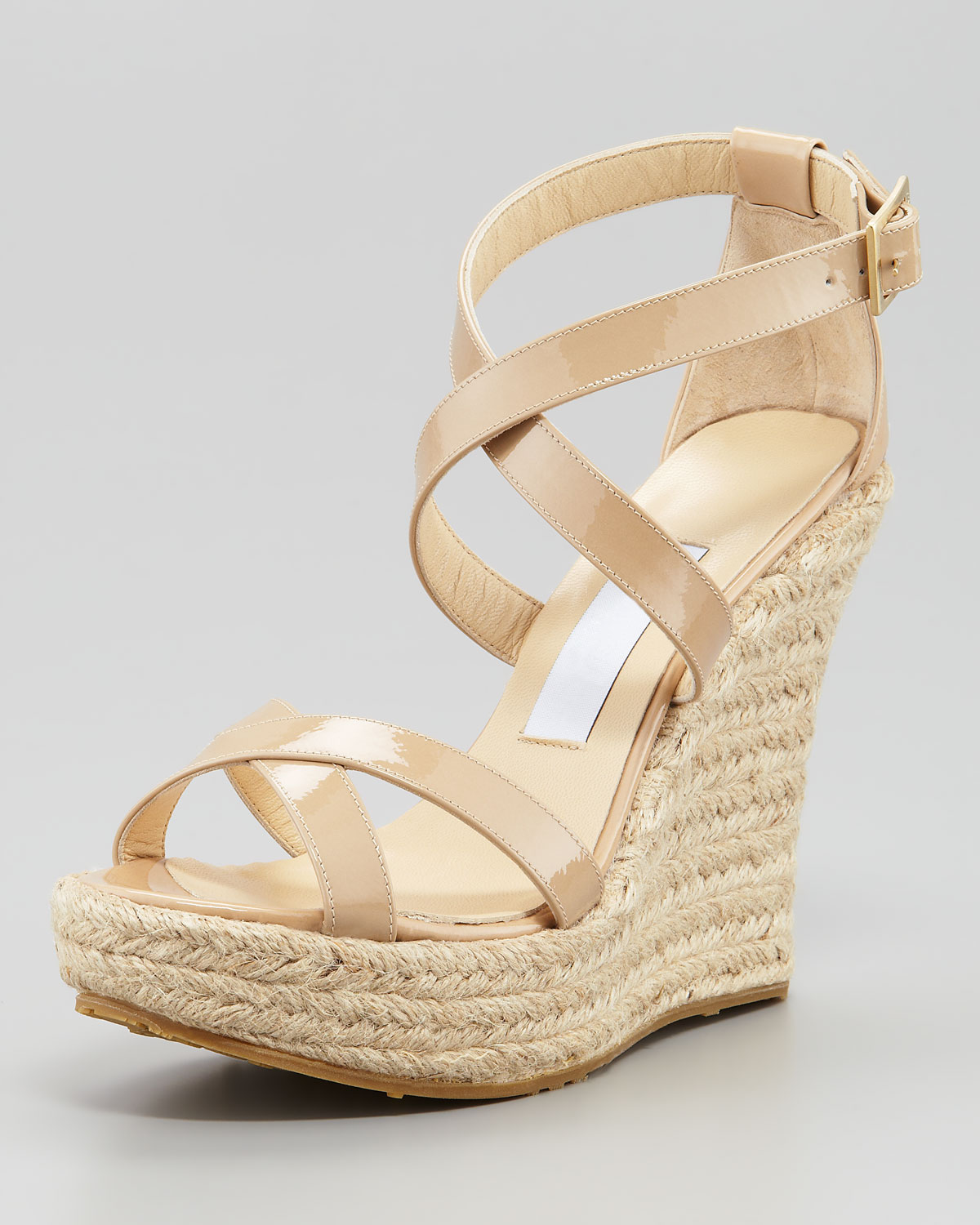 d3227b70ca56 Lyst - Jimmy Choo Porto Patent Espadrille Wedge Nude in Natural