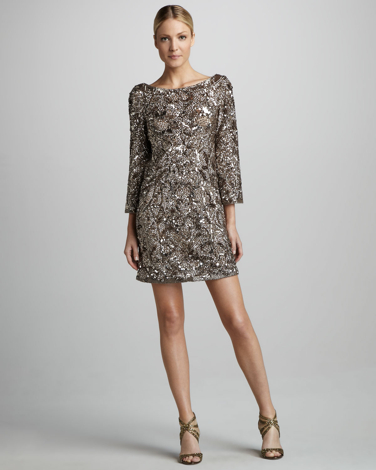 Marchesa Sequined Silk Tunic Dress in Metallic | Lyst