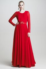 Oscar de la Renta Pleated Long Sleeve Chiffon Gown - Lyst