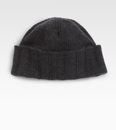 Portolano Merino Wool Beanie Hat in Black for Men (charcoal)