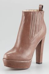 Prada Leather Platform Ankle Bootie - Lyst