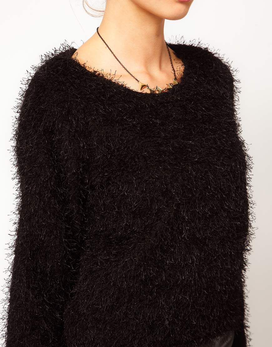 River island Chelsea Girl Fluffy Jumper in Black | Lyst