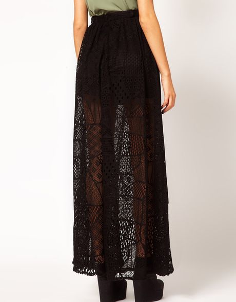 river island chelsea lace maxi skirt in black lyst