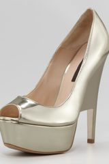 Ruthie Davis® Doheny Metallic Leather Wedgeeffect Pump - Lyst