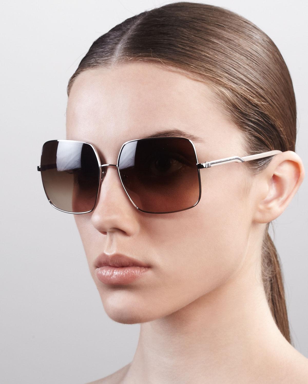 9554ddbe9a3 Lyst - Stella McCartney Square Metal Sunglasses in Metallic
